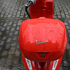 Raindrops on a motor scooter, Seville, Seville Province, Spain