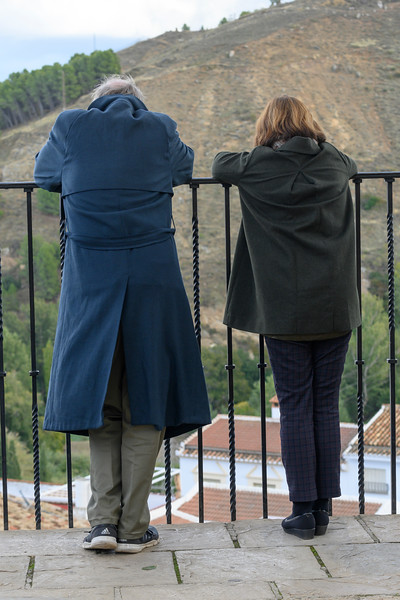 Rear view of two people looking at view, Antequera, Andalusia, Spain
