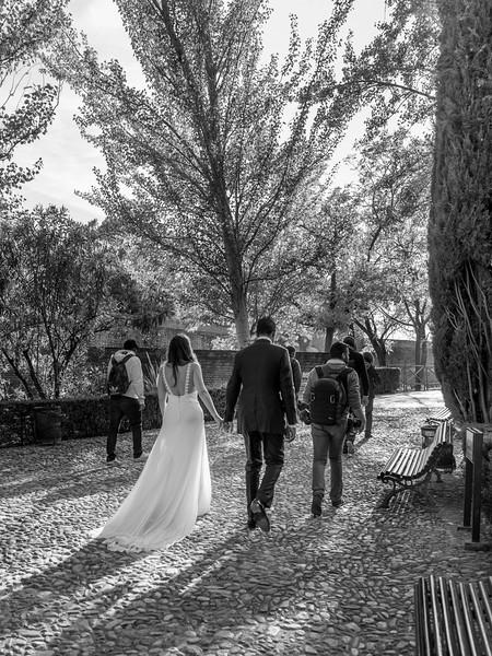 Bride and groom walking on cobblestone path in Alhambra, Granada, Granada Province, Spain