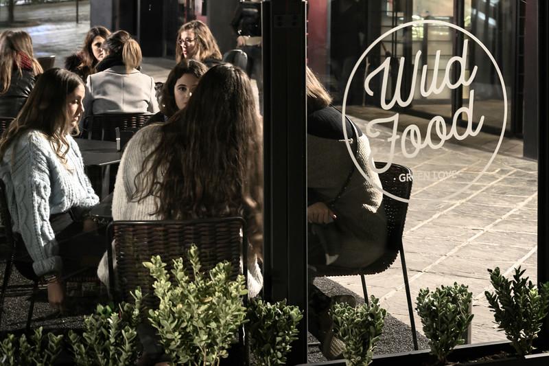 People at a sidewalk caf�, Granada, Granada Province, Spain
