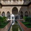 Courtyard of Alcazar Palace, Plaza De Espana, Seville, Seville Province, Spain