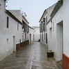 The stucco walls of white houses along alley in Carmona, Seville, Seville Province, Spain