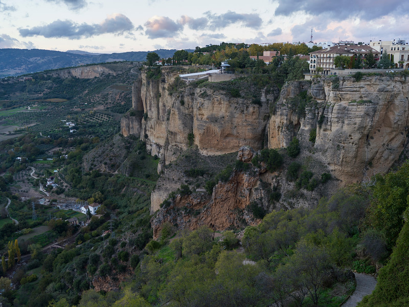 Spanish town on the edge of cliff in Ronda, Malaga Province, Spain