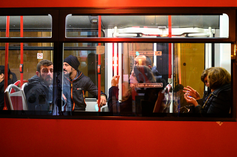 Commuters in a bus, Granada, Granada Province, Spain