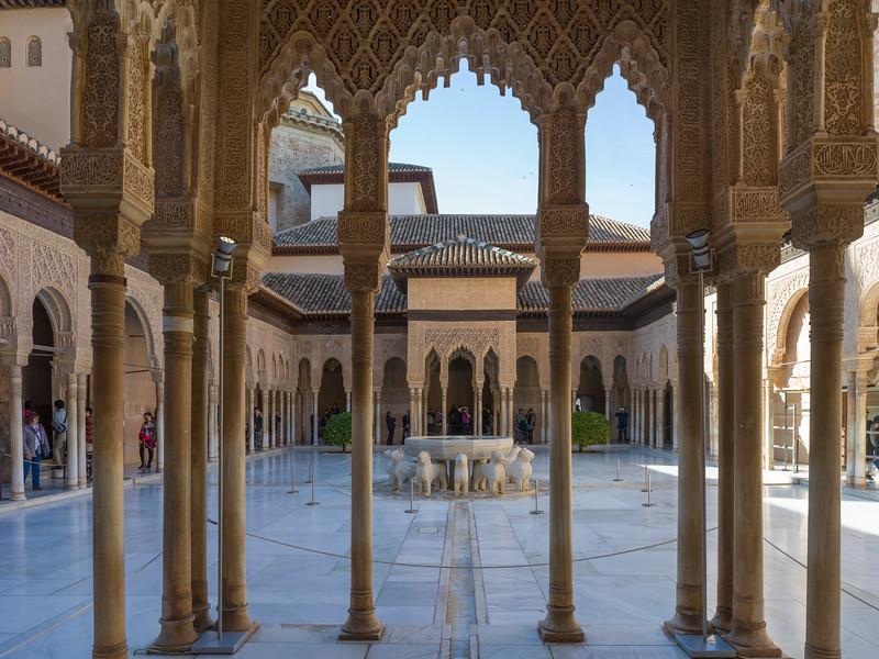 Courtyard of Nasrid Palaces, Alhambra, Granada, Spain