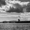 Ship along coastline, Manilva, Malaga Province, Spain