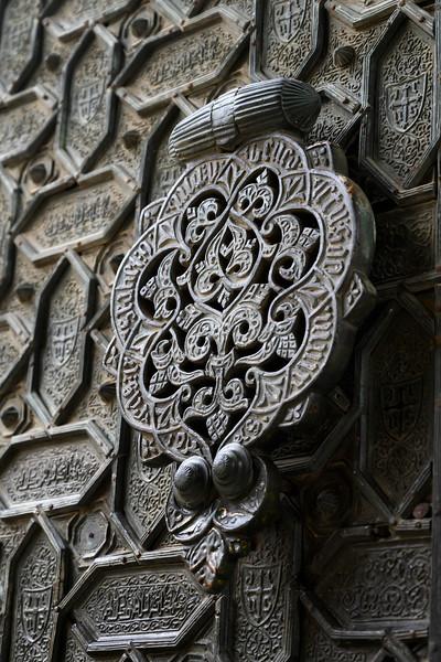 Close-up of door knocker at Great Mosque of Cordoba, Cordoba, Cordoba Province, Andalusia, Spain