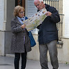 Senior couple reading road map, Antequera, Andalusia, Spain