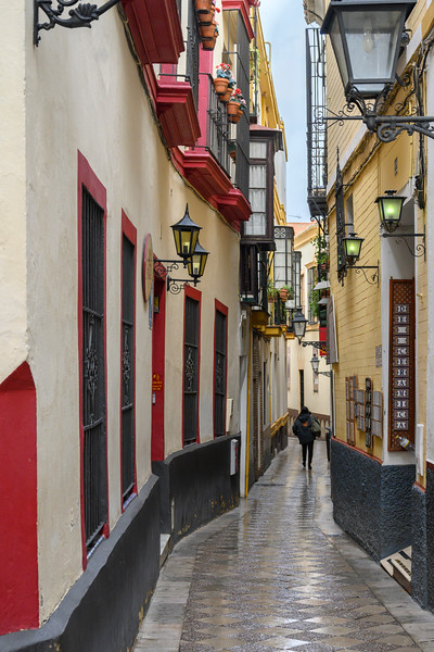 Narrow alley, Santa Cruz, Seville, Seville Province, Spain