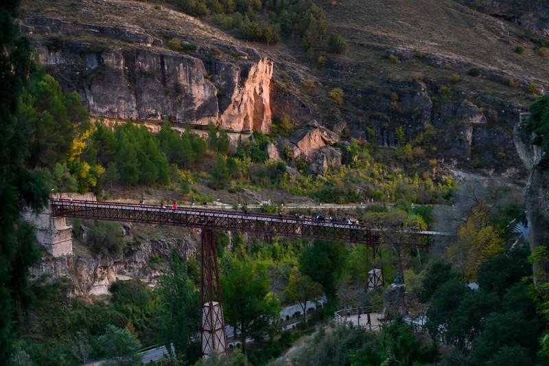 Tourists walking on a bridge, Saint Paul Bridge, Barrio De Tiradores, Cuenca, Cuenca Province, Castilla La Mancha, Spain