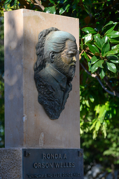 Statue of Orson Welles in Ronda, Malaga Province, Spain