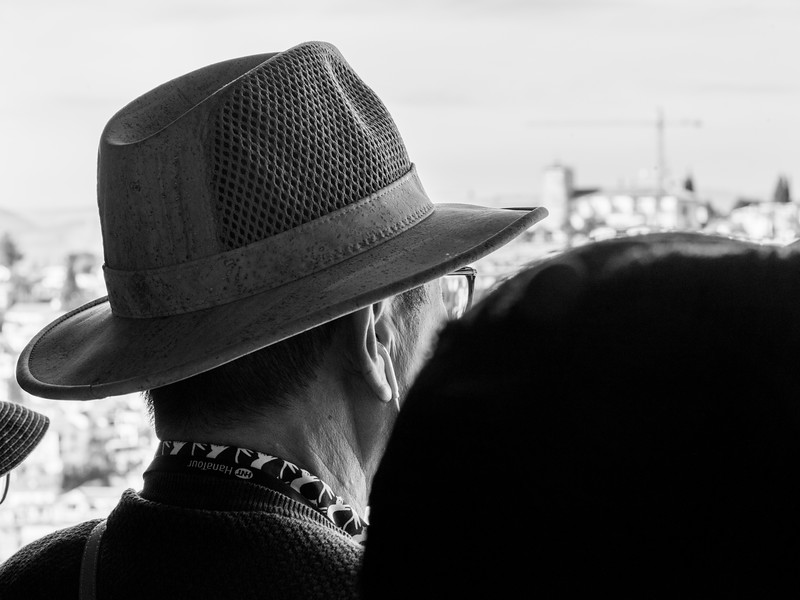 Close-up rear view of a man wearing hat, Alhambra, Granada, Granada Province, Spain