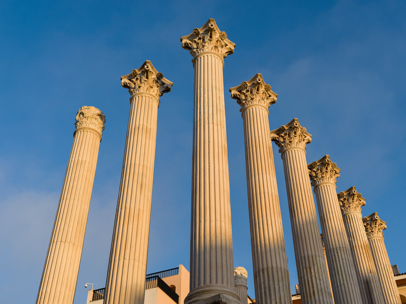 Low angle view of Columns of Roman Temple, Cordoba, Andalusia, Spain