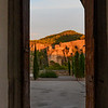 Mountains seen from the doorway of Cuenca Cathedral, Cuenca, Cuenca Province, Castilla La Mancha, Spain