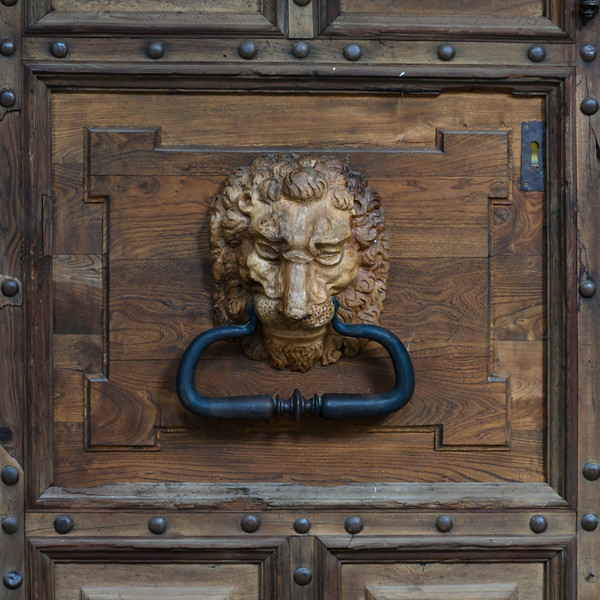 Details of lion head door knocker of a cathedral, Cuenca Cathedral, Cuenca, Cuenca Province, Castilla La Mancha, Spain