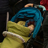 Baby sleeping in stroller, Cuenca, Spain