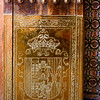 Details of coat of arms relief on walls of church, Church of San Bartolome, Seville, Seville Province, Spain
