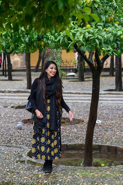 Beautiful woman at the historic site of Cordoba Mosque-Cathedral, Distrito Centro, C�rdoba, C�rdoba Province, Spain