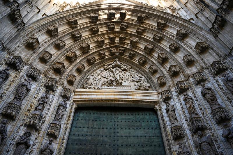 Entrance of an cathedral, Santa Cruz, Seville, Seville Province, Spain
