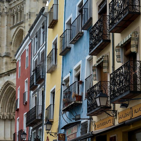 Windows and balconies of apartments, Cuenca, Cuenca Province, Castilla La Mancha, Spain