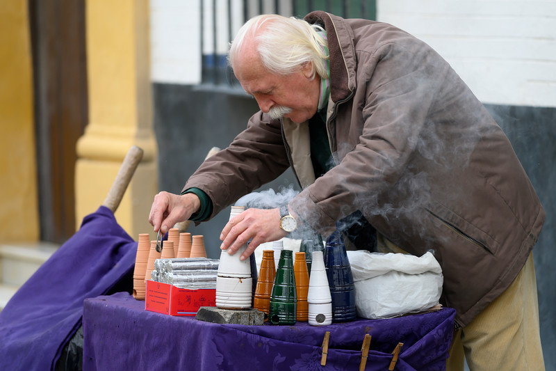 Street vendor on street in Santa Cruz, Seville, Seville Province, Spain