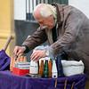 Street vendor on street in Santa Cruz, Seville, Seville Province, Spain