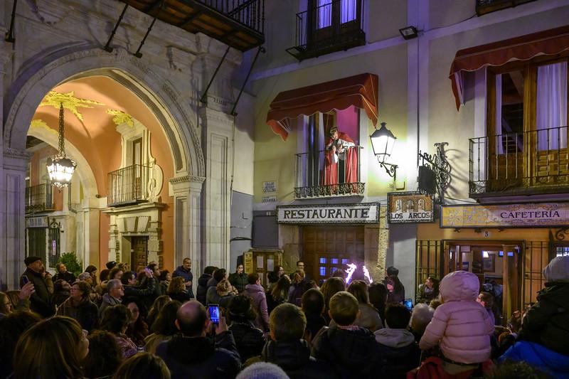 Celebration at restaurant, Plaza Mayor Square, Cuenca, Spain