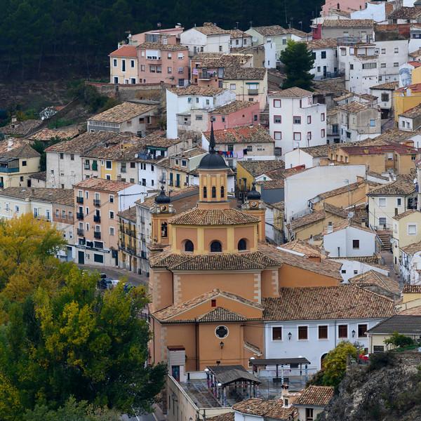 Elevated view of historic town, Cuenca, Cuenca Province, Castilla La Mancha, Spain