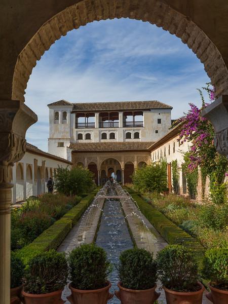 Fountain at courtyard of Nasrid Palaces, Alhambra, Granada, Spain