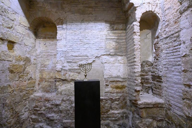 Menorah in the Jewish synagogue in C�rdoba Synagogue, Distrito Centro, C�rdoba, C�rdoba Province, Spain