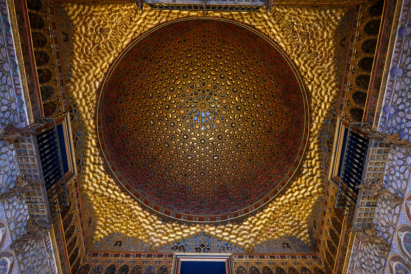 Golden decorative ceiling of Alcazar Palace, Plaza De Espana, Seville, Seville Province, Spain