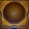 Golden decorative ceiling of Alcazar Palace, Plaza De Espana, Seville, Seville Province, Spain