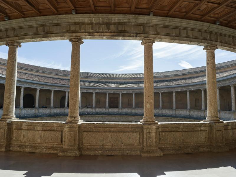 Courtyard of Palace of Charles V, Alhambra Palace, Alhambra, Granada, Spain