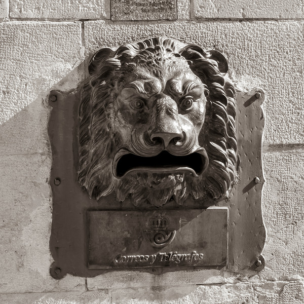 Close-up of lion head mailbox ,�beda, Jaen Province, Spain