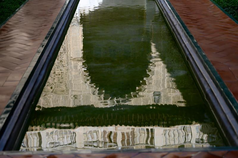 Reflection of palace on water, Plaza De Espana, Seville, Seville Province, Spain