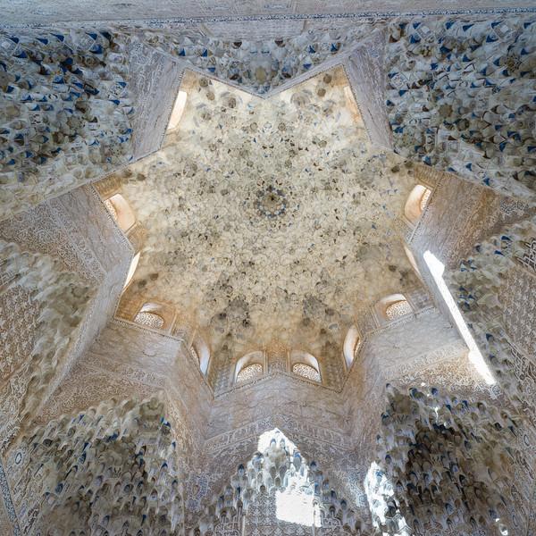 Stalactite ceiling decoration of Nasrid Palaces, Alhambra, Granada, Spain