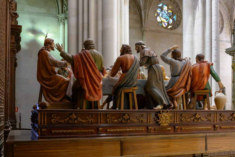 Figurines of apostle with Jesus Christ during the Last Supper at cathedral, Cuenca Cathedral, Cuenca, Cuenca Province, Castilla La Mancha, Spain