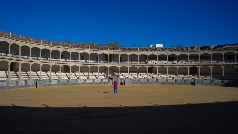Bullring venue against blue sky in Ronda, Malaga Province, Spain