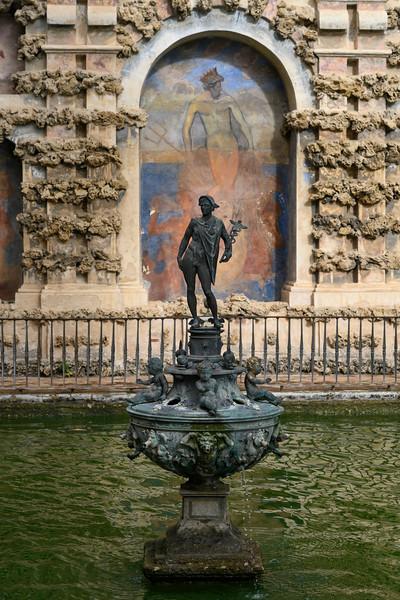 Mercury fountain at the Alcazar Palace, Plaza De Espana, Seville, Seville Province, Spain