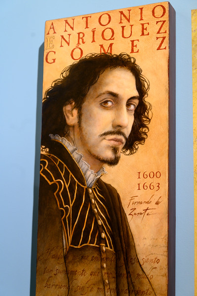 Painting of Antonio Enr�quez G�mez against wall at Jewish Museum, Centro De Interpretacion Juderia De Sevilla, Jewish Quarter of Seville, Santa Cruz, Seville, Seville Province, Spain