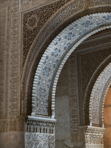 Arches and column of Nasrid Palaces, Alhambra, Granada, Spain