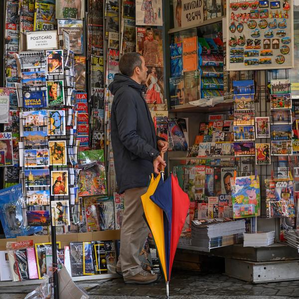 Man at souvenir store, Alfalfa, Seville, Seville Province, Spain