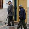 Two seniors men walking on footpath, Montefr�o, Granada, Granada Province, Spain