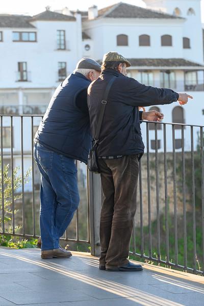 Senior friends looking at view, Spain