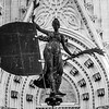 A Iron Statue in cathedral, Santa Cruz, Seville, Seville Province, Spain