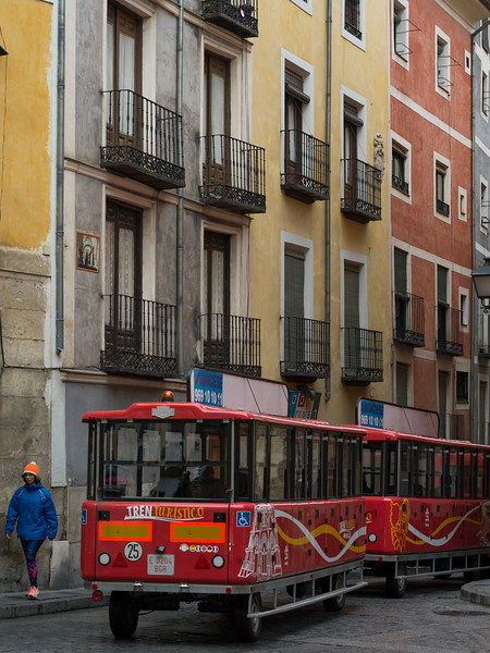 Trailer bus on the street, Plaza Mayor, Cuenca, Spain