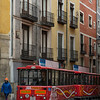 Trailer bus on the street, Plaza Mayor, Cuenca, Spain