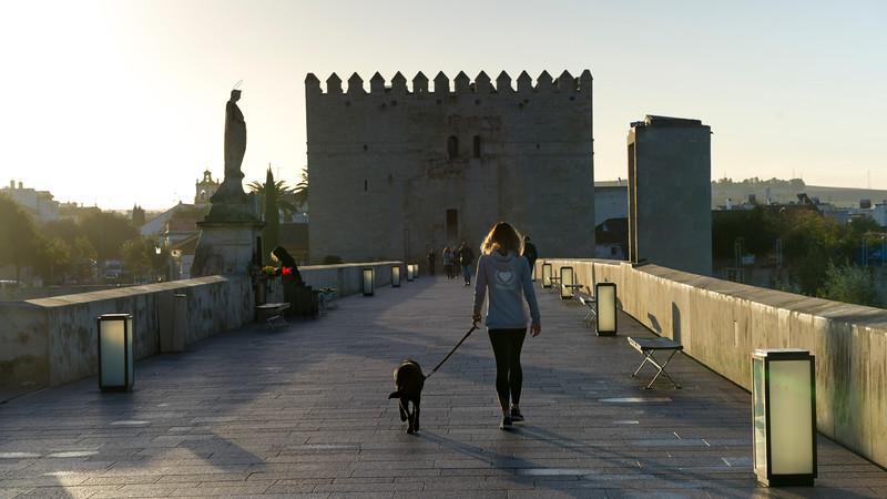 People on the Bridge of San Rafael, C�rdoba, C�rdoba Province, Spain