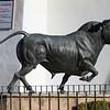 Statue of fighting bull monument in Ronda, Malaga Province, Spain