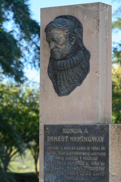 Memorial of Eernest Hemingway in Ronda, Malaga Province, Spain
